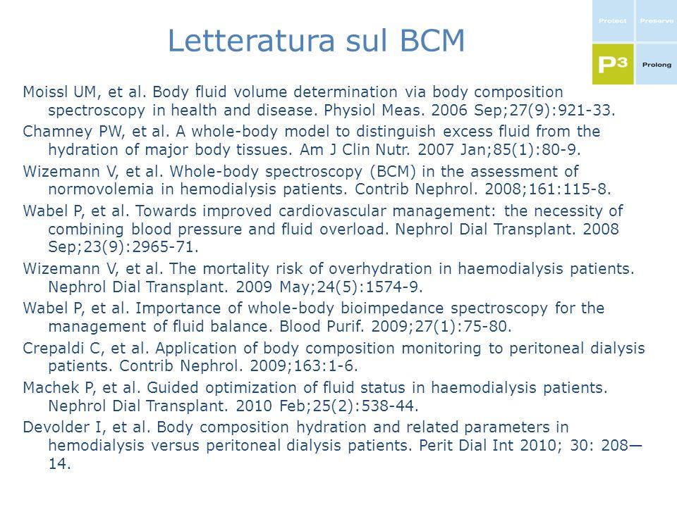 Letteratura sul BCM Moissl UM, et al. Body fluid volume determination via body composition spectroscopy in health and disease. Physiol Meas. 2006 Sep;