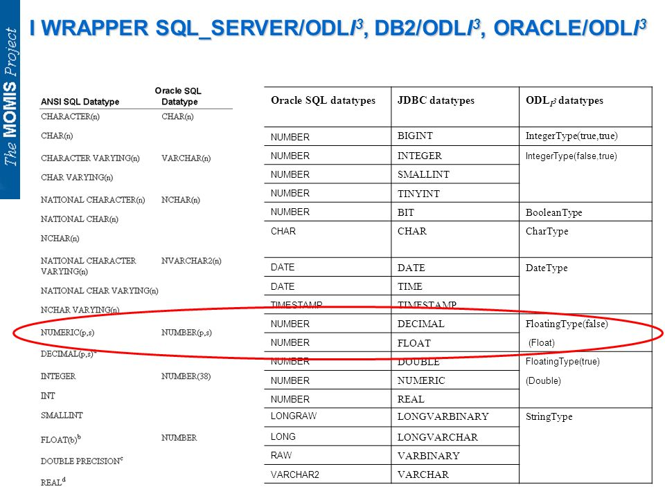 I WRAPPER SQL_SERVER/ODLI 3, DB2/ODLI 3, ORACLE/ODLI 3 Oracle SQL datatypesJDBC datatypesODL I 3 datatypes NUMBER BIGINTIntegerType(true,true) NUMBER INTEGER IntegerType(false,true) NUMBER SMALLINT NUMBER TINYINT NUMBER BITBooleanType CHAR CharType DATE DateType DATE TIME TIMESTAMP NUMBER DECIMALFloatingType(false) NUMBER FLOAT (Float) NUMBER DOUBLE FloatingType(true) NUMBER NUMERIC (Double) NUMBER REAL LONGRAW LONGVARBINARYStringType LONG LONGVARCHAR RAW VARBINARY VARCHAR2 VARCHAR
