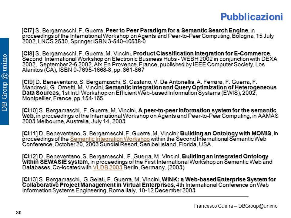 Francesco Guerra – DBGroup@unimo 30 Pubblicazioni [CI7] S.