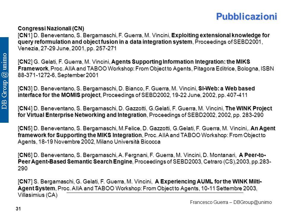 Francesco Guerra – DBGroup@unimo 31 Pubblicazioni Congressi Nazionali (CN) [CN1] D.