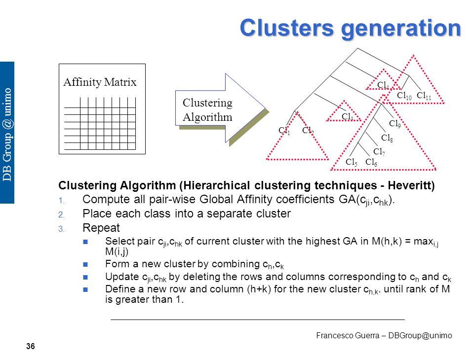 Francesco Guerra – DBGroup@unimo 36 Clusters generation Clustering Algorithm (Hierarchical clustering techniques - Heveritt) 1.
