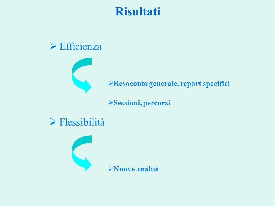 Risultati Efficienza Flessibilità Resoconto generale, report specifici Sessioni, percorsi Nuove analisi