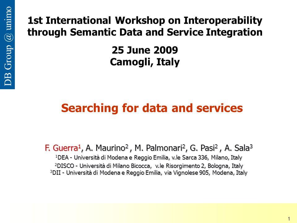 ISDSI 2009 Francesco Guerra– Università di Modena e Reggio Emilia 1 DB Group @ unimo Searching for data and services F.