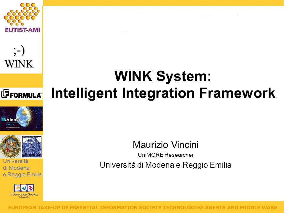 Università di Modena e Reggio Emilia ;-)WINK Maurizio Vincini UniMORE Researcher Università di Modena e Reggio Emilia WINK System: Intelligent Integration Framework