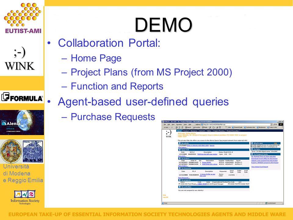 Università di Modena e Reggio Emilia ;-)WINK DEMO Collaboration Portal: –Home Page –Project Plans (from MS Project 2000) –Function and Reports Agent-based user-defined queries –Purchase Requests