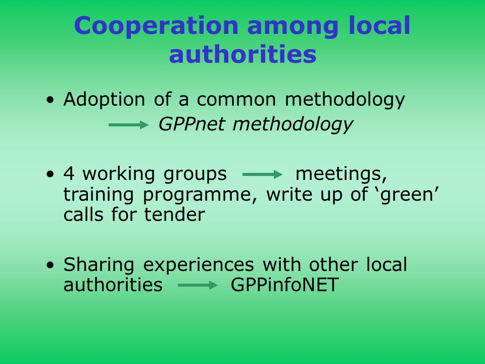 Cooperation among local authorities Adoption of a common methodology GPPnet methodology 4 working groups meetings, training programme, write up of green calls for tender Sharing experiences with other local authorities GPPinfoNET