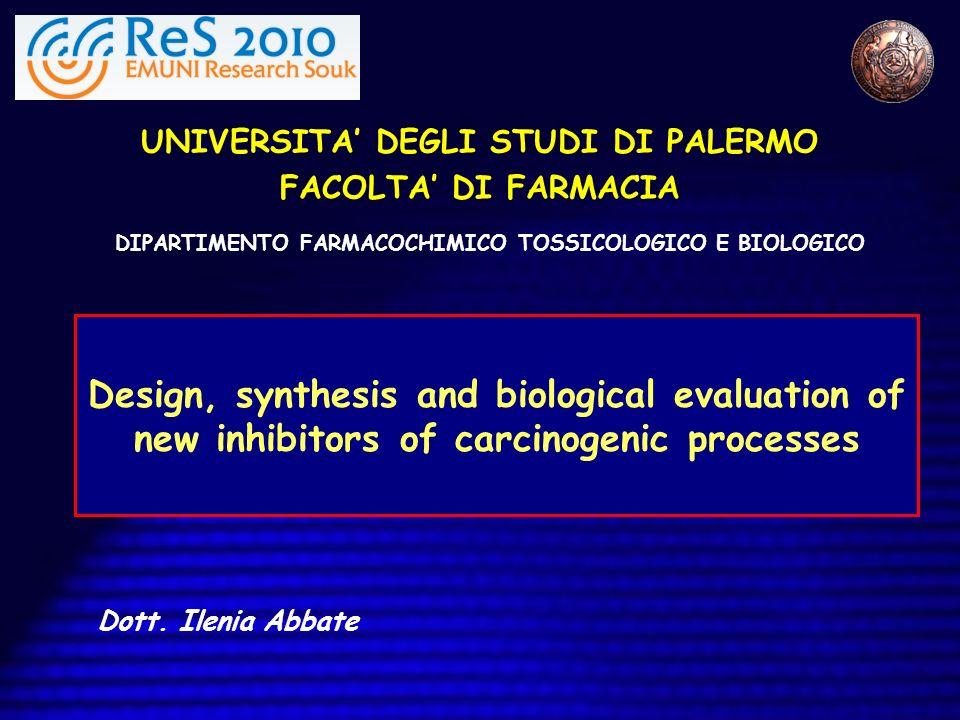 UNIVERSITA DEGLI STUDI DI PALERMO FACOLTA DI FARMACIA Design, synthesis and biological evaluation of new inhibitors of carcinogenic processes DIPARTIM