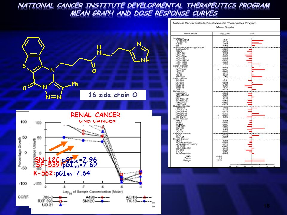 15 K-562:pGI 50 =7.64 LEUKEMIA CNS CANCER SF-539:pGI 50 =7.69 RENAL CANCER SN-12C:pGI 50 =7.96 16 side chain O