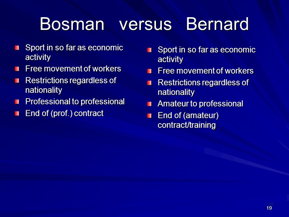 19 Bosman versus Bernard Sport in so far as economic activity Free movement of workers Restrictions regardless of nationality Professional to professi