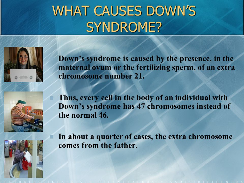 WHAT CAUSES DOWNS SYNDROME? Downs syndrome is caused by the presence, in the maternal ovum or the fertilizing sperm, of an extra chromosome number 21.