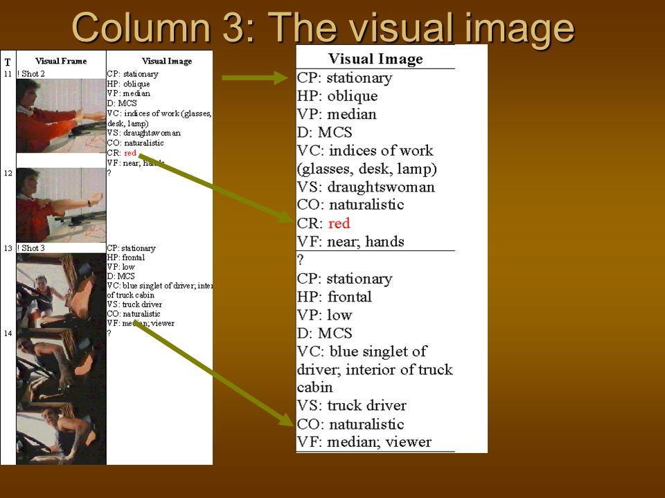Column 3: The visual image