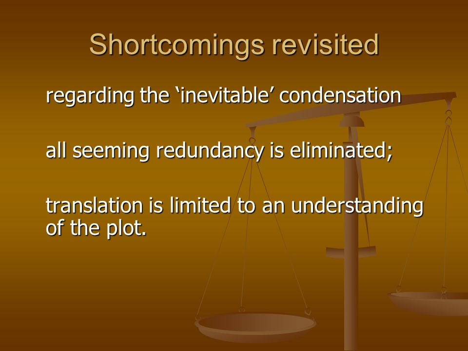 Shortcomings revisited regarding the inevitable condensation all seeming redundancy is eliminated; translation is limited to an understanding of the p