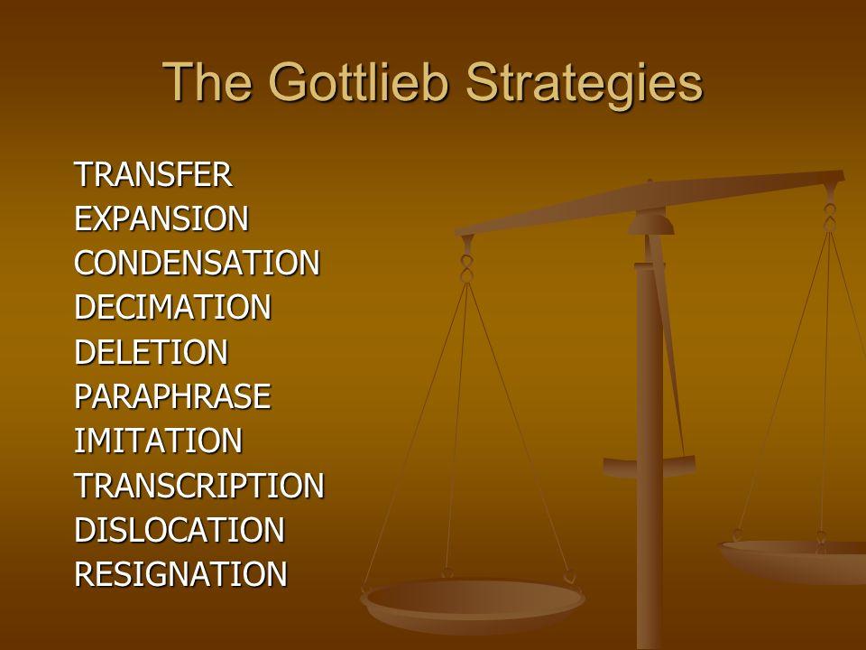 The Gottlieb Strategies TRANSFEREXPANSIONCONDENSATIONDECIMATIONDELETIONPARAPHRASEIMITATIONTRANSCRIPTIONDISLOCATIONRESIGNATION