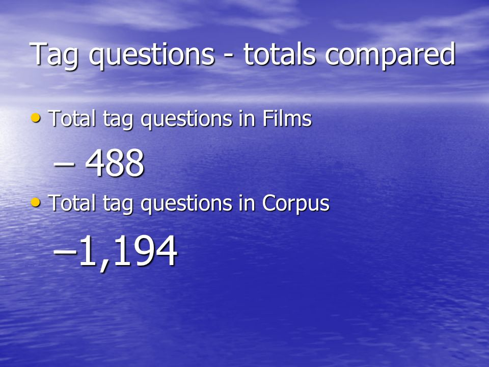 Tag questions - totals compared Total tag questions in Films Total tag questions in Films – 488 Total tag questions in Corpus Total tag questions in Corpus –1,194