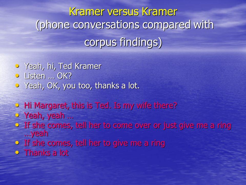 Kramer versus Kramer (phone conversations compared with corpus findings) Yeah, hi, Ted Kramer Yeah, hi, Ted Kramer Listen … OK? Listen … OK? Yeah, OK,