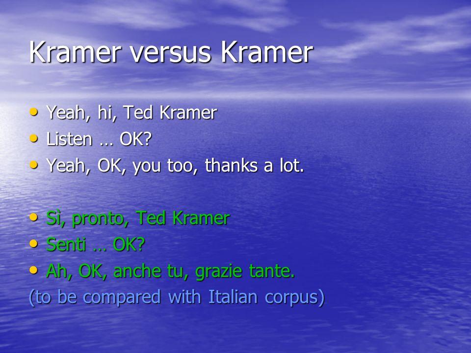 Kramer versus Kramer Yeah, hi, Ted Kramer Yeah, hi, Ted Kramer Listen … OK? Listen … OK? Yeah, OK, you too, thanks a lot. Yeah, OK, you too, thanks a