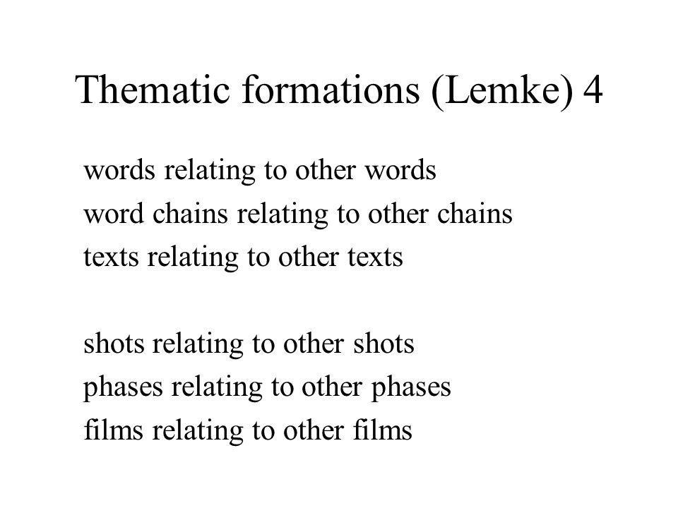 Thematic formations (Lemke) 4 words relating to other words word chains relating to other chains texts relating to other texts shots relating to other shots phases relating to other phases films relating to other films