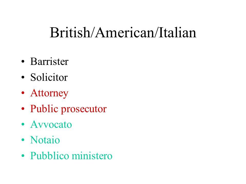 British/American/Italian Barrister Solicitor Attorney Public prosecutor Avvocato Notaio Pubblico ministero
