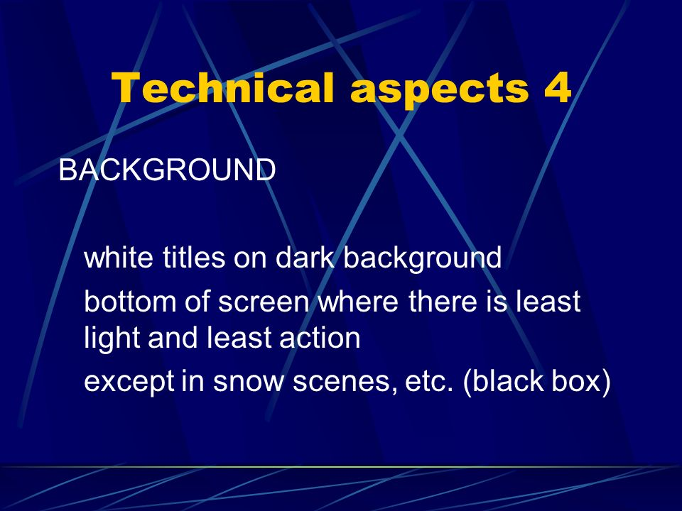 Technical aspects 3 SPOTTING – where to insert the subtitles. in cue out cue spotting list.