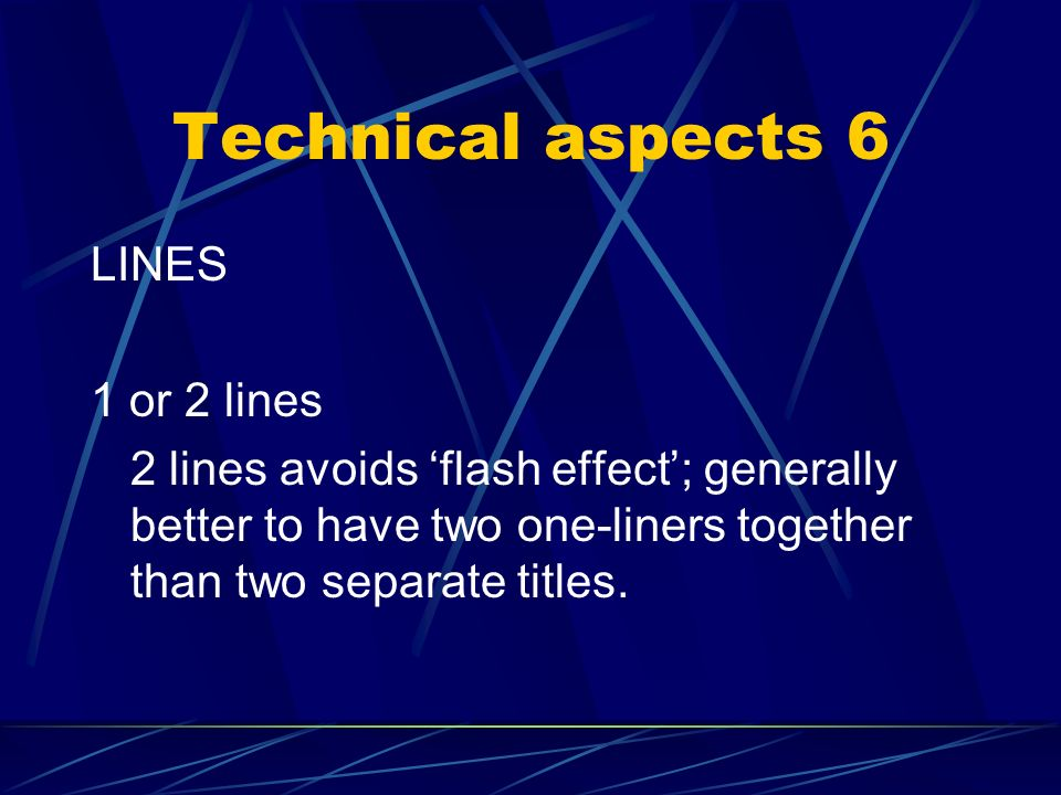 Technical aspects 5 DIMENSIONS width 2/3 of screen – centred height 15% of screen characters 32-40 per line (28-38 on TV) (max. 68 or two lines of 20
