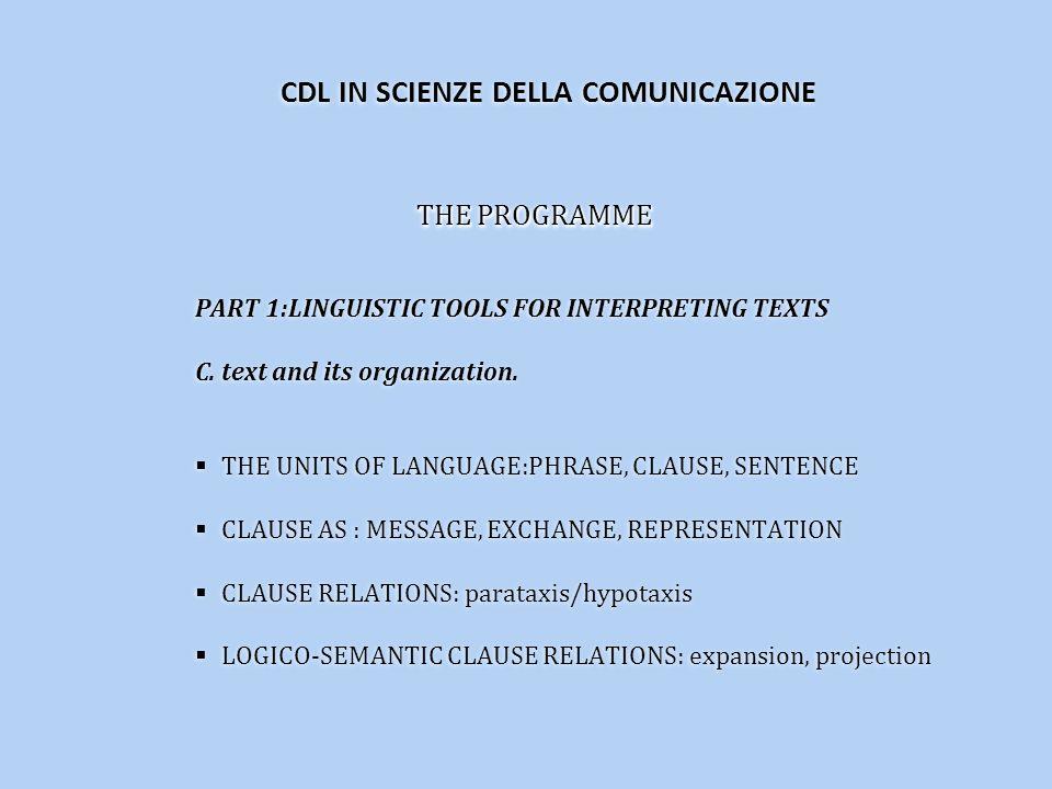 THE PROGRAMME PART 1:LINGUISTIC TOOLS FOR INTERPRETING TEXTS C.