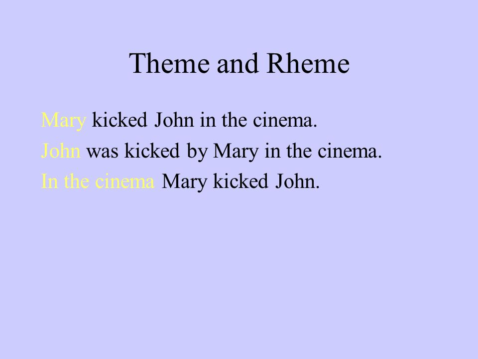 Theme and Rheme Mary kicked John in the cinema. John was kicked by Mary in the cinema.
