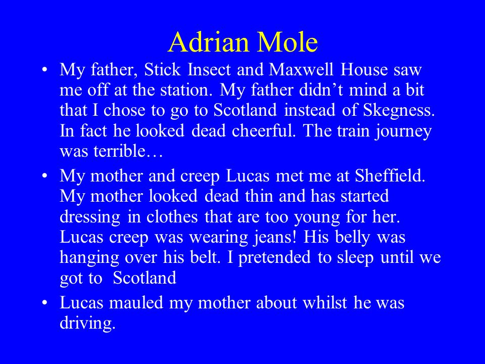 Adrian Mole My father, Stick Insect and Maxwell House saw me off at the station.