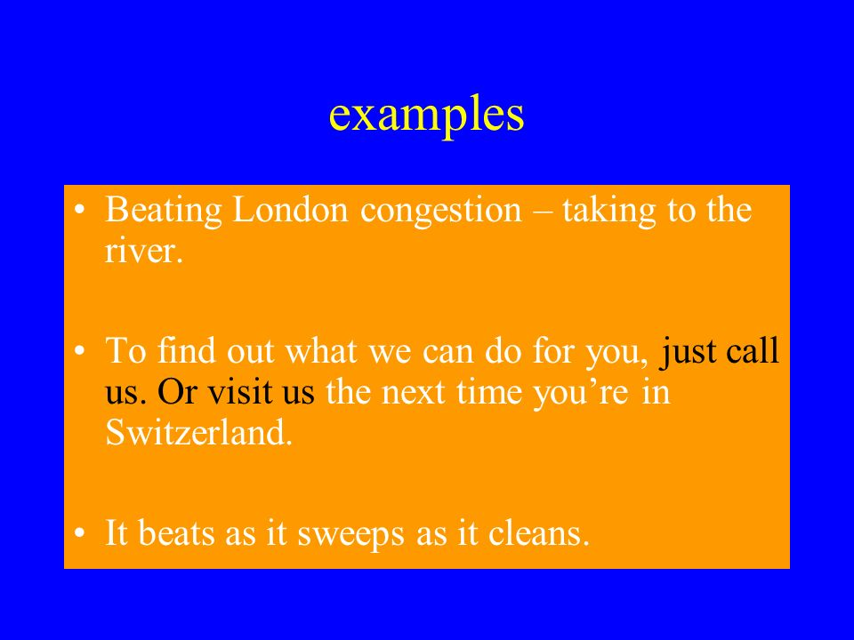examples Beating London congestion – taking to the river.