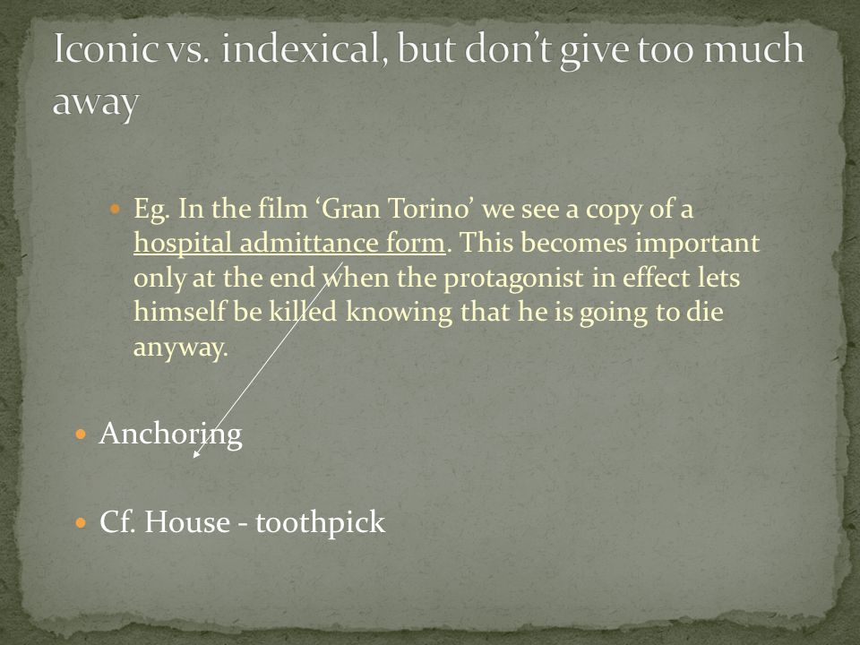 Eg. In the film Gran Torino we see a copy of a hospital admittance form.