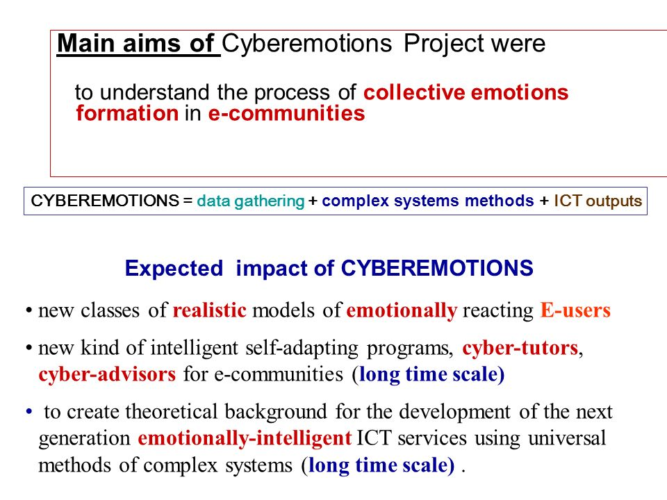 Expected impact of CYBEREMOTIONS new classes of realistic models of emotionally reacting E-users new kind of intelligent self-adapting programs, cyber