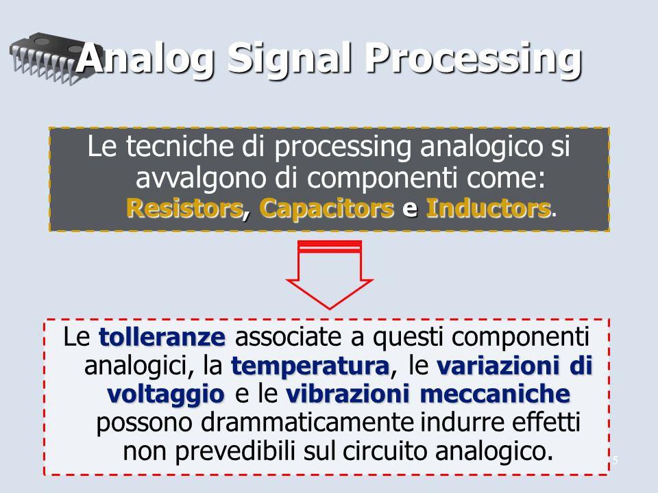 5 tolleranze temperaturavariazioni di voltaggiovibrazioni meccaniche Le tolleranze associate a questi componenti analogici, la temperatura, le variazioni di voltaggio e le vibrazioni meccaniche possono drammaticamente indurre effetti non prevedibili sul circuito analogico.