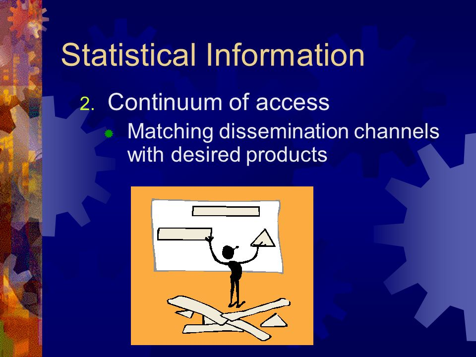 Statistical Information 2. Continuum of access Matching dissemination channels with desired products