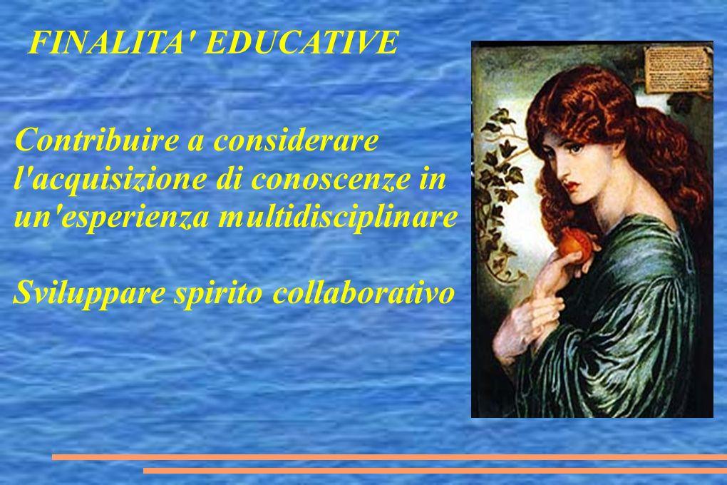Contribuire a considerare l acquisizione di conoscenze in un esperienza multidisciplinare Sviluppare spirito collaborativo FINALITA EDUCATIVE