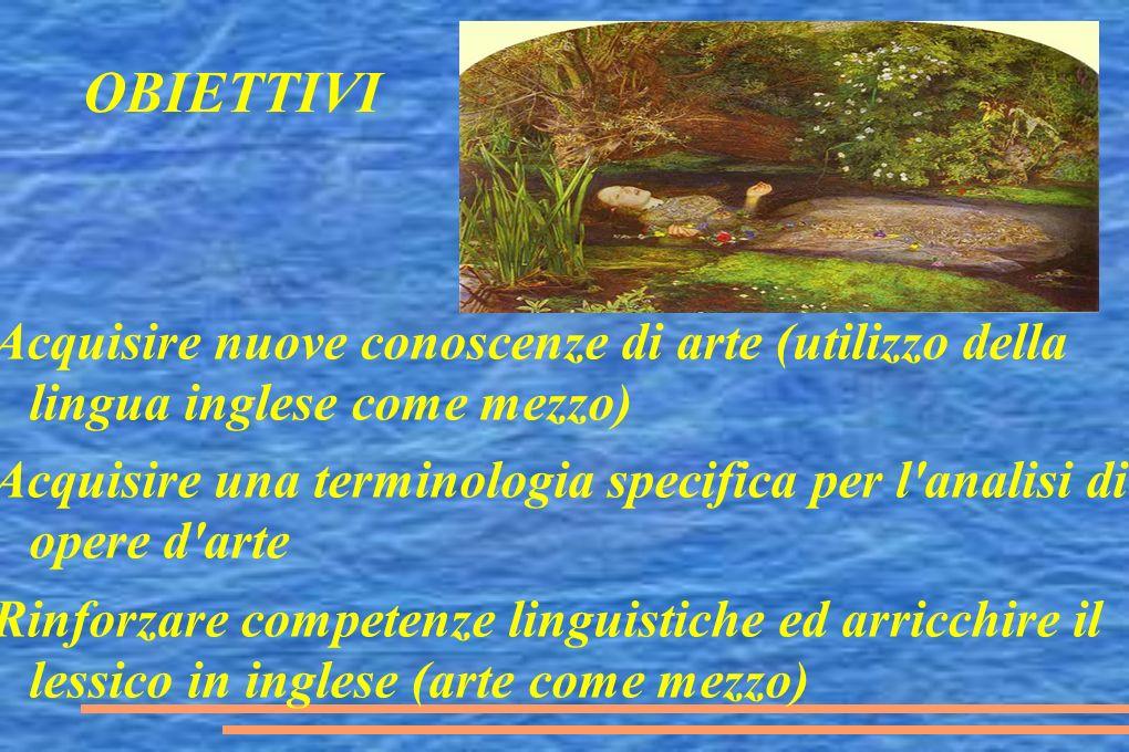 OBIETTIVI Acquisire nuove conoscenze di arte (utilizzo della lingua inglese come mezzo) Acquisire una terminologia specifica per l'analisi di opere d'