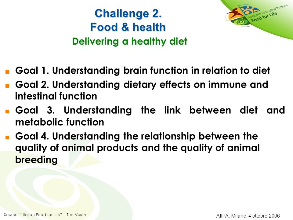 Challenge 2.Food & health Challenge 2. Food & health Delivering a healthy diet Goal 1.