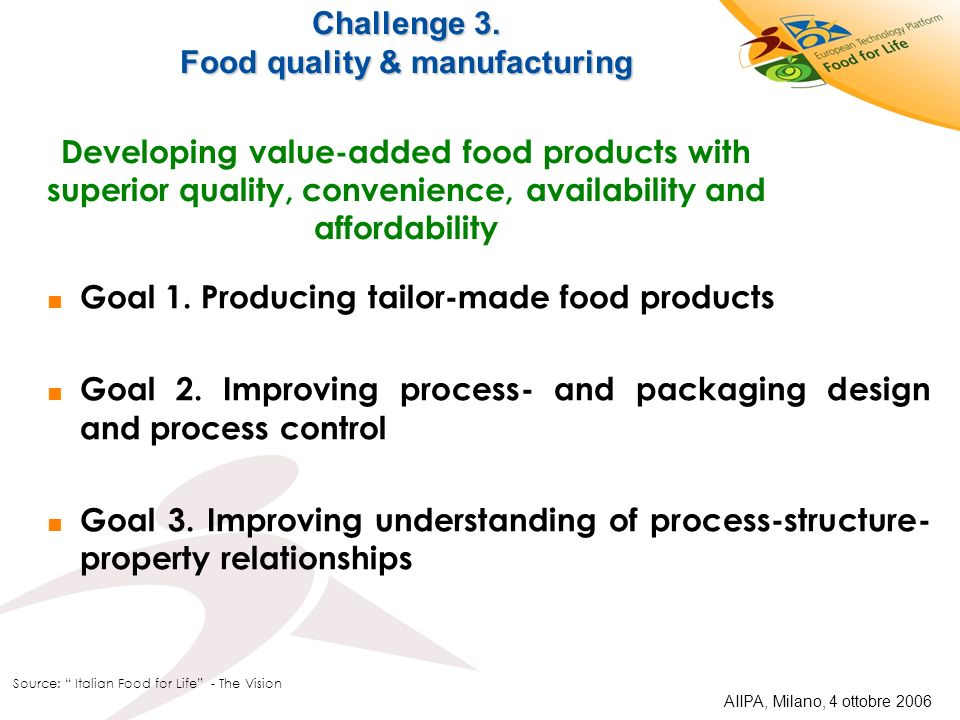 Challenge 3. Food quality & manufacturing Challenge 3. Food quality & manufacturing Developing value-added food products with superior quality, conven