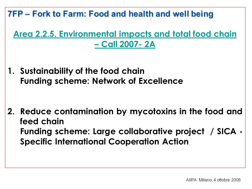 7FP – Fork to Farm: Food and health and well being Area 2.2.5.