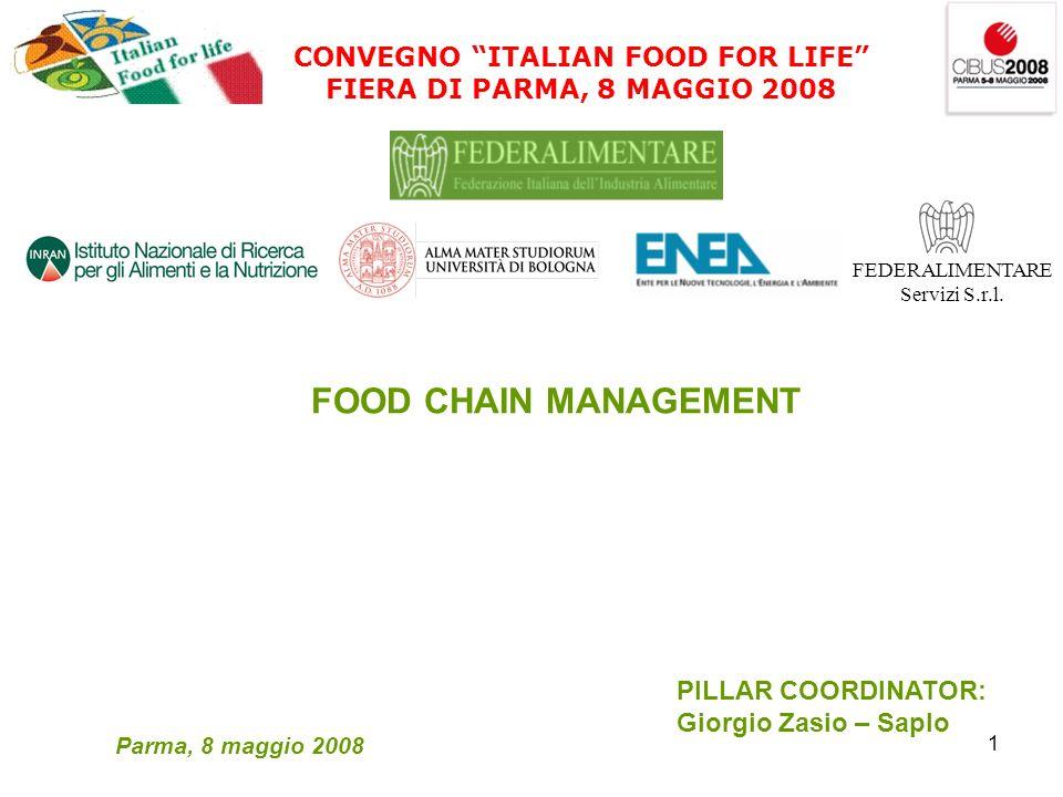 1 CONVEGNO ITALIAN FOOD FOR LIFE FIERA DI PARMA, 8 MAGGIO 2008 FEDERALIMENTARE Servizi S.r.l.
