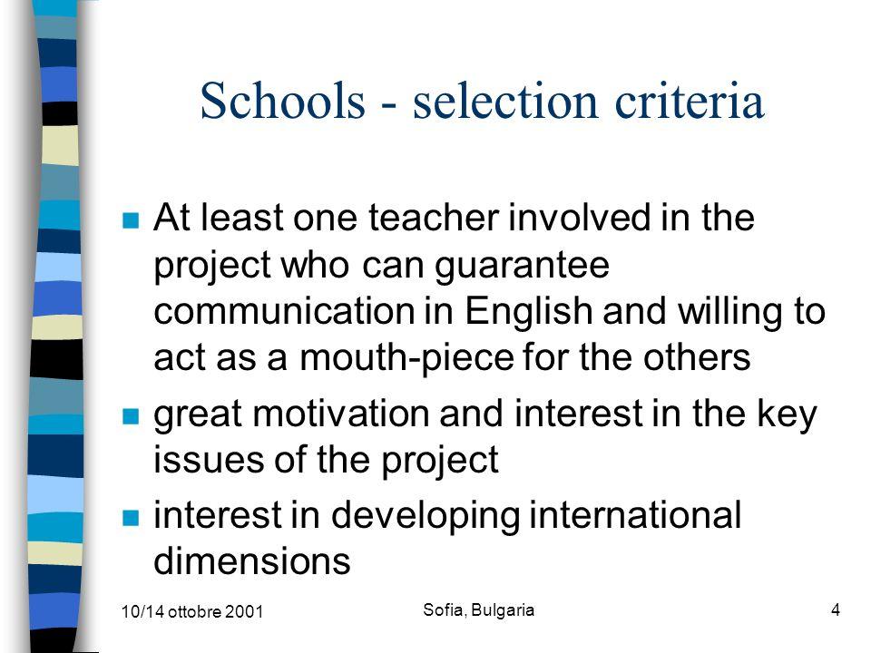 10/14 ottobre 2001 Sofia, Bulgaria3 schools