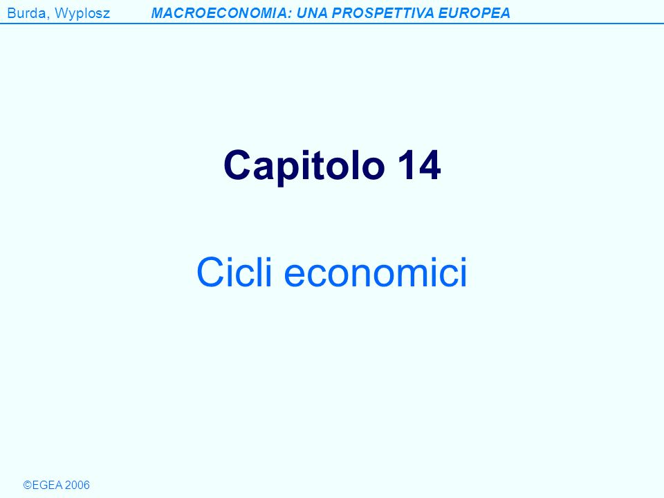Burda, WyploszMACROECONOMIA: UNA PROSPETTIVA EUROPEA ©EGEA 2006 Table 14.3 Variability* of key macro variables over the cycle 1964-2002 Table 14.03 GDP (%) ConsumptionInvestmentGovernment purchases ExportsImportsPrices (GDP deflator) EU0.950.862.520.532.443.070.94 Japan1.180.812.430.713.284.440.65 USA1.610.802.680.772.683.120.54 *Variability is measured as the stantard deviation of seasonally adjusted and detrended values using the Hodrick-Prescott filter.