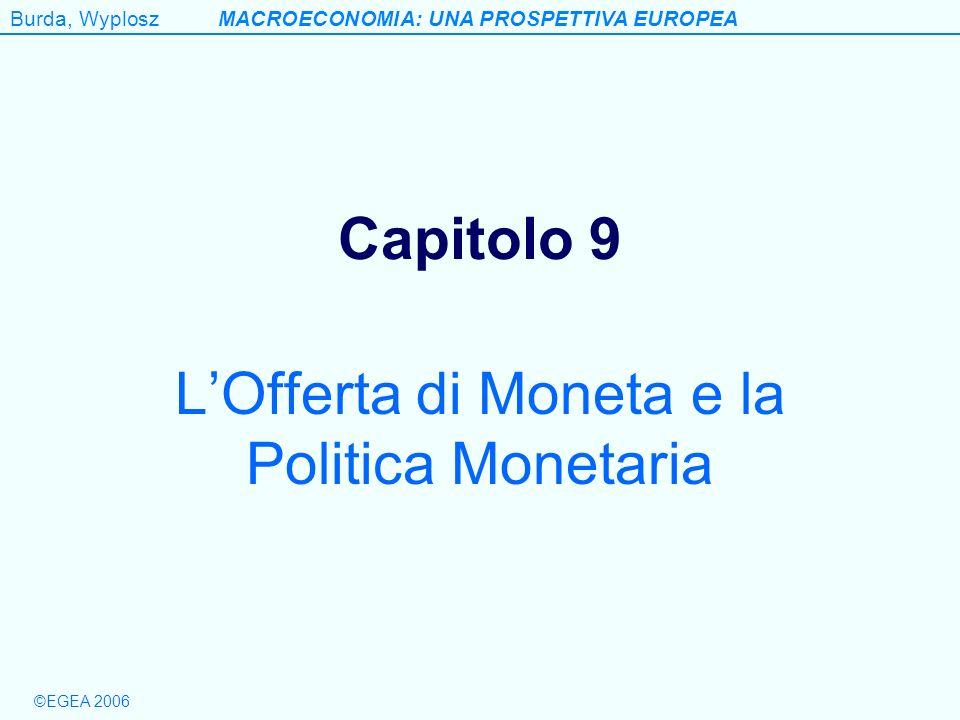 ©EGEA 2006 Burda, WyploszMACROECONOMIA: UNA PROSPETTIVA EUROPEA Capitolo 9 LOfferta di Moneta e la Politica Monetaria