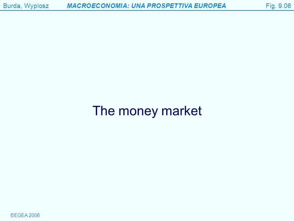©EGEA 2006 Burda, WyploszMACROECONOMIA: UNA PROSPETTIVA EUROPEA Figure 9.6 The money market Fig.