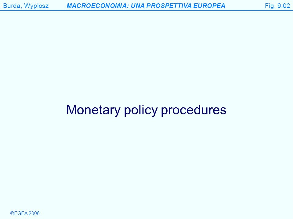 ©EGEA 2006 Burda, WyploszMACROECONOMIA: UNA PROSPETTIVA EUROPEA Figure 9.2 Monetary policy procedures Fig.