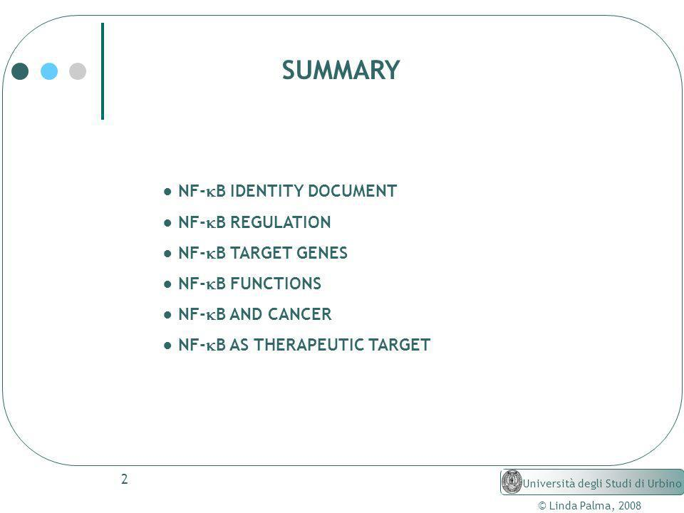 2 NF- B IDENTITY DOCUMENT NF- B REGULATION NF- B TARGET GENES NF- B FUNCTIONS NF- B AND CANCER NF- B AS THERAPEUTIC TARGET © Linda Palma, 2008 Univers