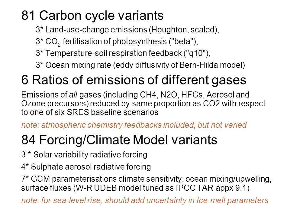 81 Carbon cycle variants 3* Land-use-change emissions (Houghton, scaled), 3* CO 2 fertilisation of photosynthesis ( beta ), 3* Temperature-soil respiration feedback ( q10 ), 3* Ocean mixing rate (eddy diffusivity of Bern-Hilda model) 6 Ratios of emissions of different gases Emissions of all gases (including CH4, N2O, HFCs, Aerosol and Ozone precursors) reduced by same proportion as CO2 with respect to one of six SRES baseline scenarios note: atmospheric chemistry feedbacks included, but not varied 84 Forcing/Climate Model variants 3 * Solar variability radiative forcing 4* Sulphate aerosol radiative forcing 7* GCM parameterisations climate sensitivity, ocean mixing/upwelling, surface fluxes (W-R UDEB model tuned as IPCC TAR appx 9.1) note: for sea-level rise, should add uncertainty in Ice-melt parameters