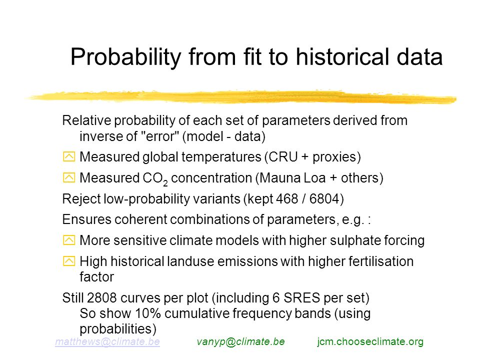 matthews@climate.bematthews@climate.be vanyp@climate.be jcm.chooseclimate.org Relative probability of each set of parameters derived from inverse of error (model - data) Measured global temperatures (CRU + proxies) Measured CO 2 concentration (Mauna Loa + others) Reject low-probability variants (kept 468 / 6804) Ensures coherent combinations of parameters, e.g.