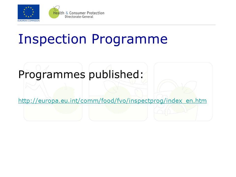 Inspection Programme Programmes published: http://europa.eu.int/comm/food/fvo/inspectprog/index_en.htm