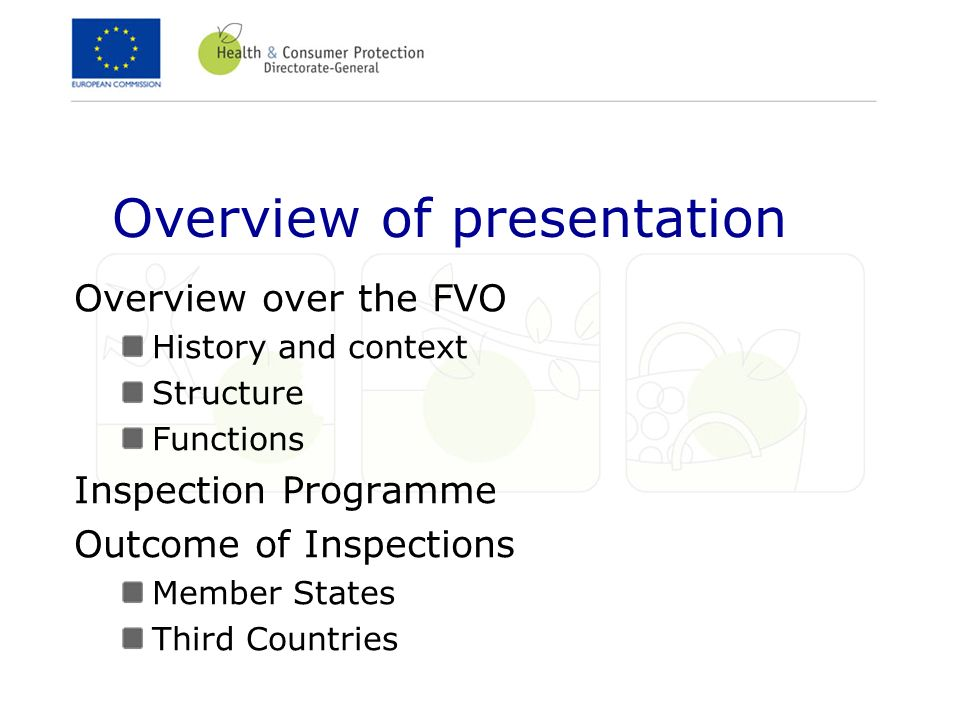 Overview of presentation Overview over the FVO History and context Structure Functions Inspection Programme Outcome of Inspections Member States Third