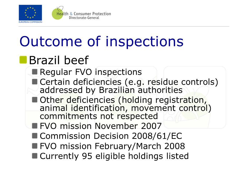 Outcome of inspections Brazil beef Regular FVO inspections Certain deficiencies (e.g. residue controls) addressed by Brazilian authorities Other defic