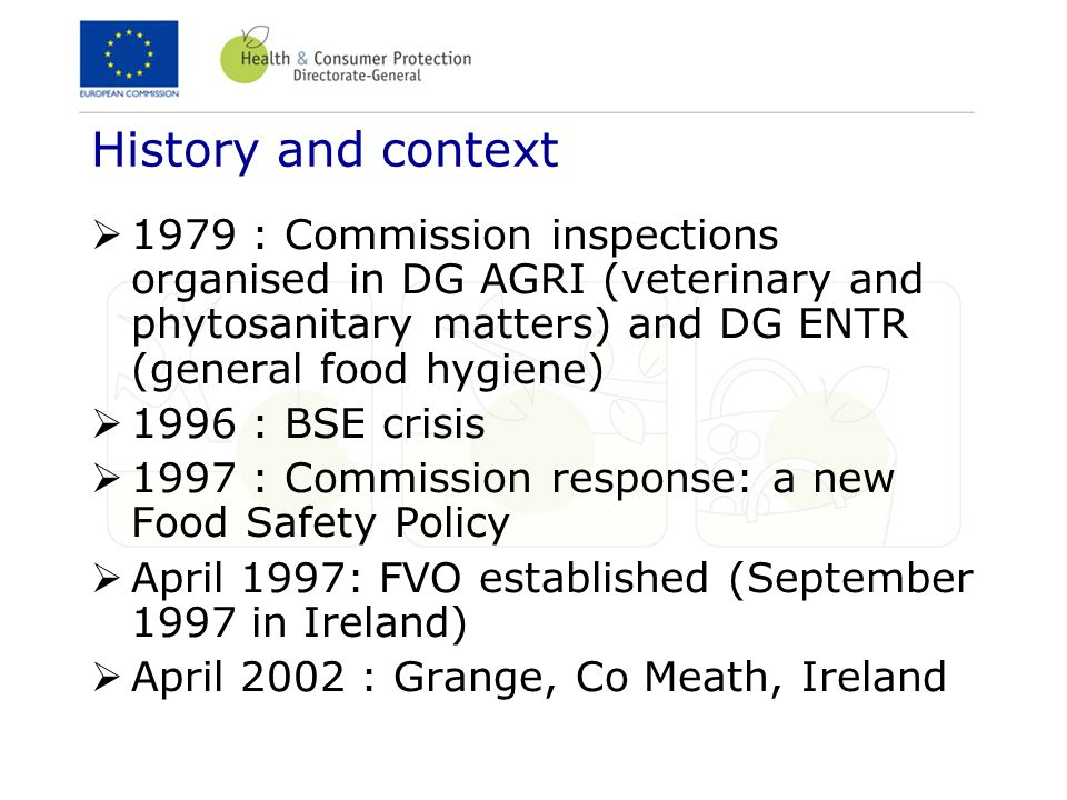 History and context 1979 : Commission inspections organised in DG AGRI (veterinary and phytosanitary matters) and DG ENTR (general food hygiene) 1996